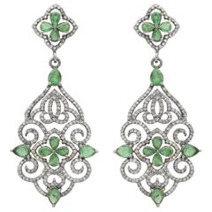 1748 AD Nolakha Palace Cocktail Emerald and Diamond Earrings