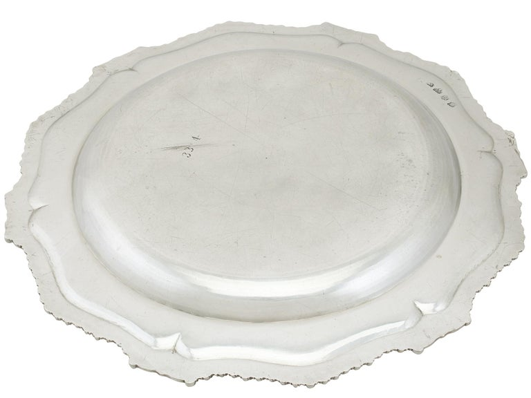 1748 Antique Georgian Sterling Silver Second Course Dish and Meat Platter For Sale 8