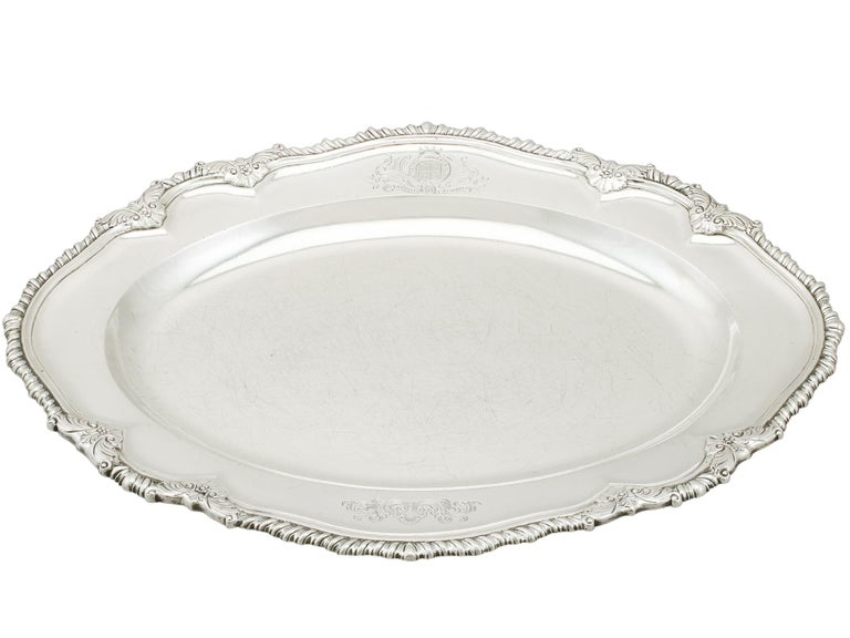 English 1748 Antique Georgian Sterling Silver Second Course Dish and Meat Platter For Sale