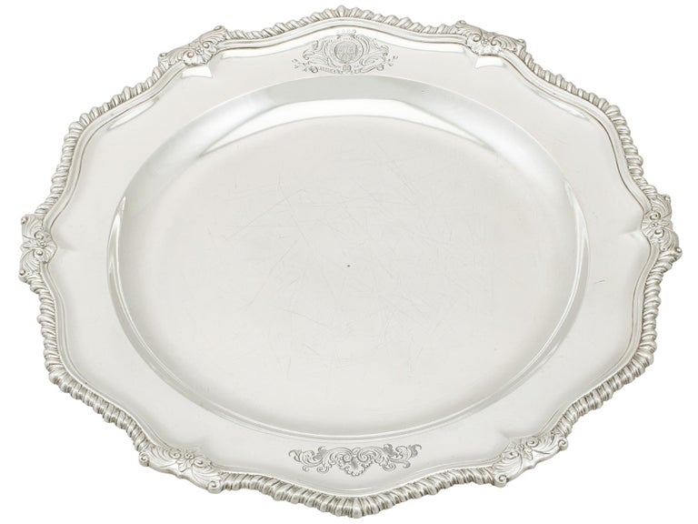Mid-18th Century 1748 Antique Georgian Sterling Silver Second Course Dish and Meat Platter For Sale