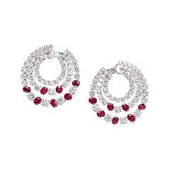 17.48 Carat Ruby and Diamond Hoop Earrings in 18K White Gold