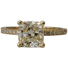1.75 Carat 14 Karat Yellow Gold Cushion Diamond Engagement Ring