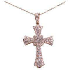 1.75 Carat 18 Karat Rose Gold Diamond Edwardian Inspired Cross