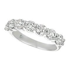 1.75 Carat 7 Stone Natural Diamond Ring Band G SI 14k White Gold