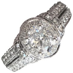 1.75 Carat Approximate, Oval Diamond Halo Engagement Ring Micro Pave, Ben Dannie