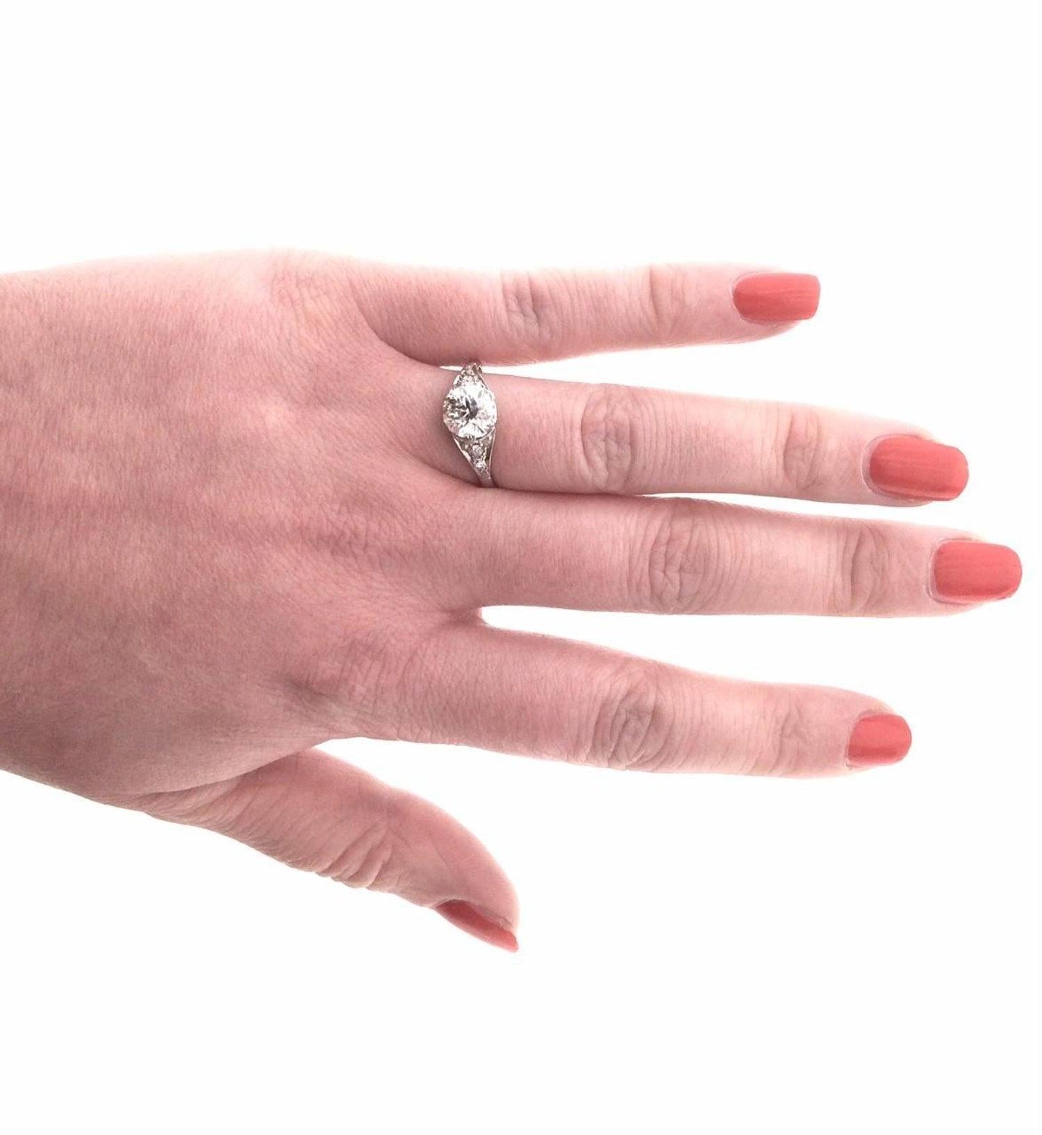 1.75 Carat Art Nouveau Diamond Single Stone Engagement Ring For Sale ...