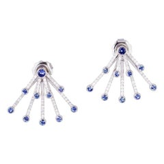 1.75 Carat Blue Sapphire 18 Karat White Gold Diamond Ear Jacket Earrings