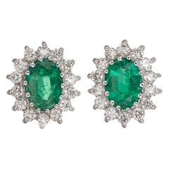 1.75 Carat Bright Green Oval Emerald Diamond Halo Earrings