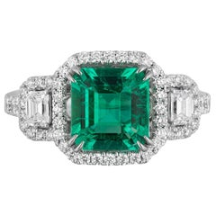 1.75 Carat Colombian Emerald Diamond Cocktail Ring