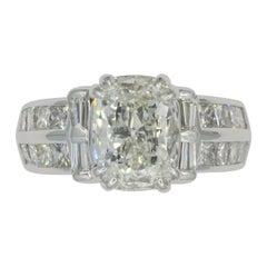 1.75 Carat Cushion Cut Diamond GIA Certified 14 Karat White Gold Wedding Set