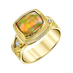 1.75 Carat Cushion Opal Cabochon, Diamond, Yellow Gold Engraved Bezel Dome Ring