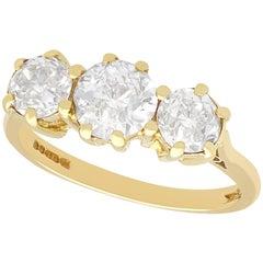1.75 Carat Diamond and 18 Carat Yellow Gold Trilogy Ring, Vintage, 1977
