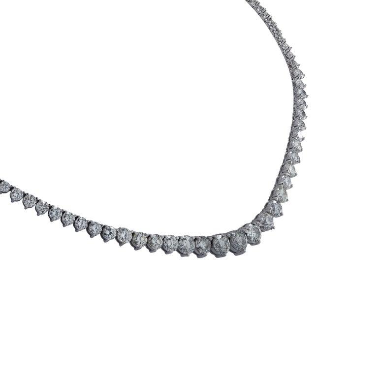 Round Cut 17.5 Carat Diamond Riviere Necklace For Sale