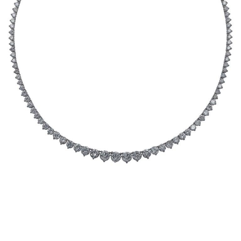 17.5 Carat Diamond Riviere Necklace In Excellent Condition For Sale In Miami, FL