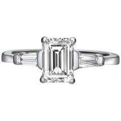 1.75 Carat Emerald Cut Diamond Engagement Ring on 18 Karat White Gold