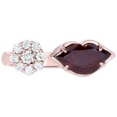 1.75 Carat Garnet and White Diamond Lip Ring