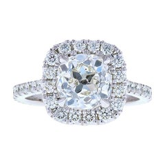 1.75 Carat GIA Old Miner Diamond Engagement Ring with Diamond Halo and Pave