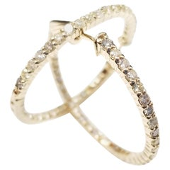 1.75 Carat Huggie Diamond Hoops Earrings 14 Karat Gold