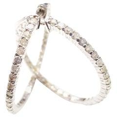 1.75 Carat Huggie Diamond Hoops Earrings 14 Karat White Gold