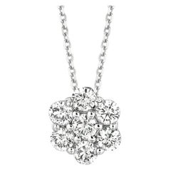 1.75 Carat Natural Diamond Cluster Necklace 14 Karat White Gold G SI Chain