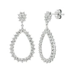 1.75 Carat Natural Diamond Pear Shape Drop Earrings G SI 14k White Gold