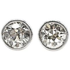 1.75 Carat Old European Cut GIA Certified Diamond White Gold Stud Earrings