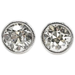 1.75 Carat Old European Cut GIA Certified Diamond White Gold Stud Earrings