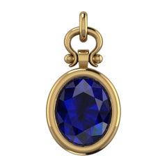 1.75 Carat Oval Cut Blue Sapphire Custom Pendant Necklace in 18k