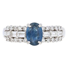 1.75 Carat Oval Cut Sapphire and Diamond Ring, 18 Karat White Gold Engagement