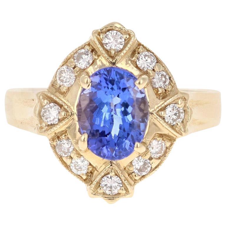 1.75 Carat Oval Cut Tanzanite Diamond 14 Karat Yellow Gold Ring
