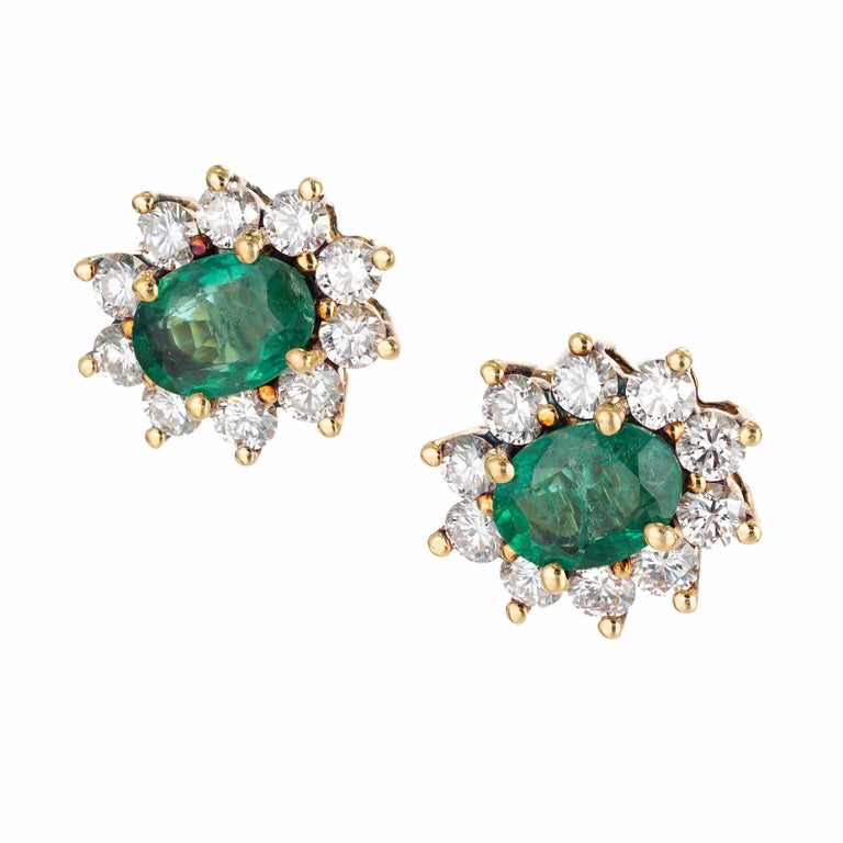 1.75 Carat Oval Emerald Diamond Halo Gold Stud Earrings