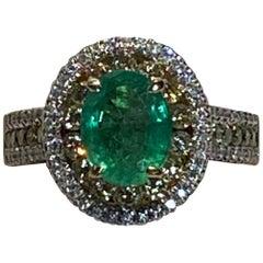 1.75 Carat Oval Emerald Diamond Halo Ring
