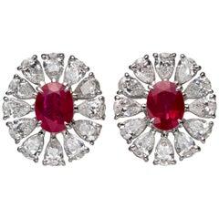 1.75 Carat Oval Ruby Pear-Shape Diamond 18 Karat White Gold Stud Earrings
