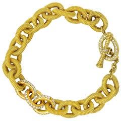 1.75 Carat Pave Diamond 18 Karat Gold Curb Link Toggle Bracelet
