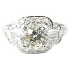 1.75 Carat Platinum Old Mine Diamond Engagement Ring