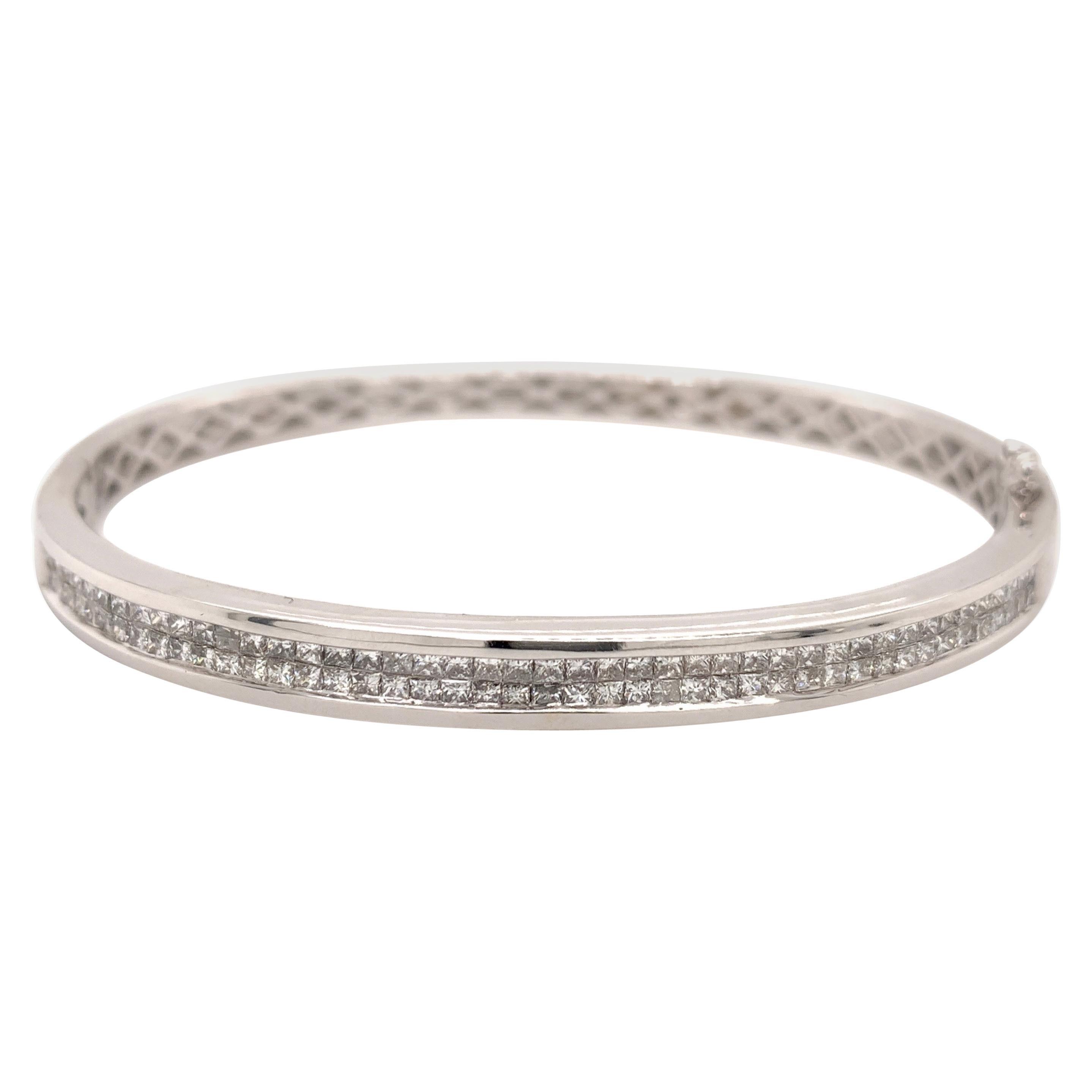 1.75 Carat Princes Cut Diamond Bangle Bracelet