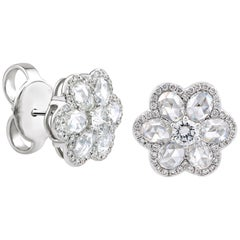 18K White Gold 1.75 Carat Rose Cut Diamond Flower Cluster Ear Studs