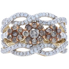 1.75 Carat Round Brilliant Diamond Ring, 10 Karat Yellow Gold Floral