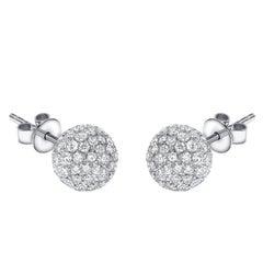 1.75 Carat Round Pave Set Diamond 18 KT White Gold Tresor Ball Stud Earrings