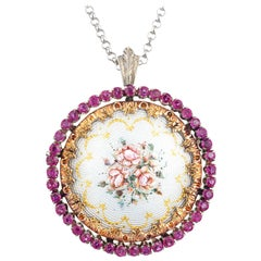 1.75 Carat Ruby Two-Tone Gold Flower Enamel Circle Brooch Pendant Necklace