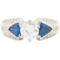 1.75 Carat Three-Stone Diamond and Blue Sapphire Ring 14 Karat White Gold