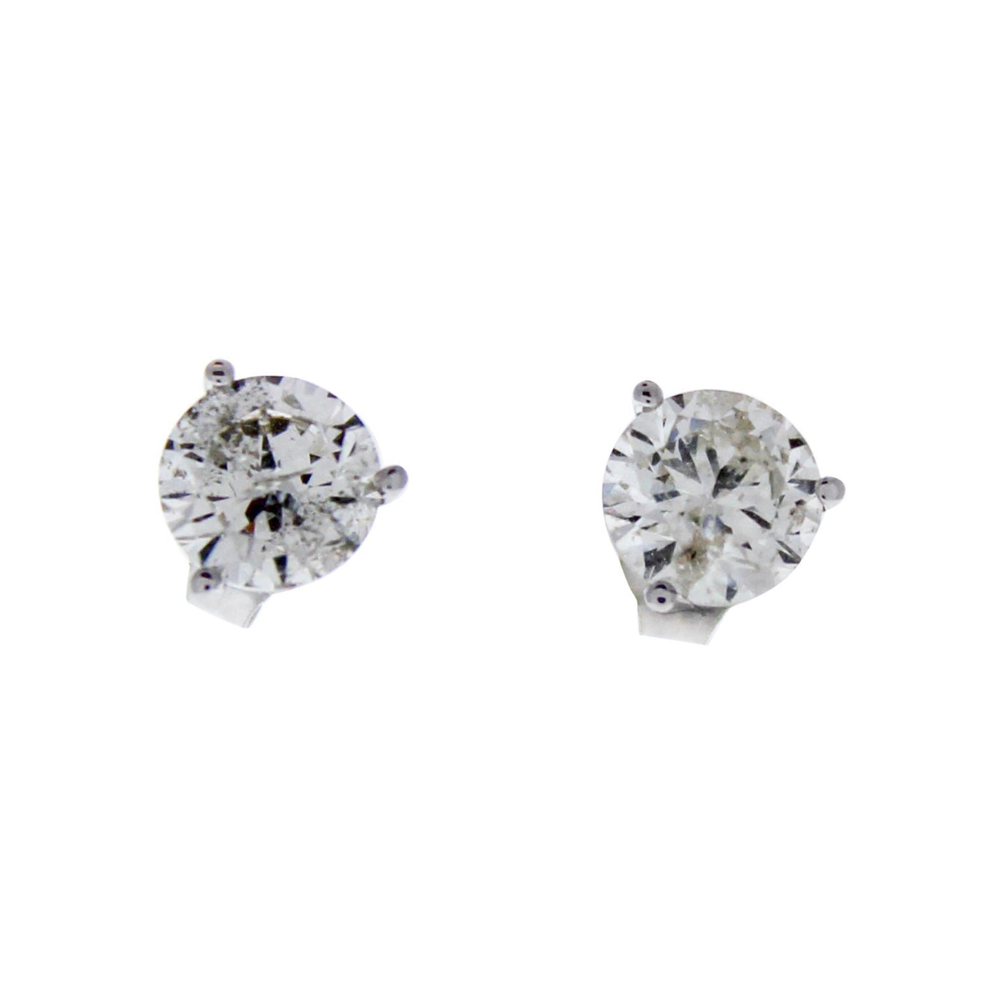 1.75 Carat Total Round Diamond Stud Earrings in 14k White Gold