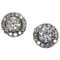 1.75 Carat Total Weight 14 Karat Gold Diamond Studs with Diamond Jackets