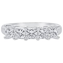 1.75 Carat Total Weight Princess Cut Diamond, 5-Stone Platinum Wedding Band