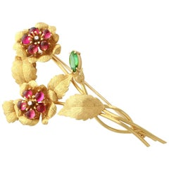 1.75 Carat Tourmaline and Diamond Yellow Gold Brooch by Liberty