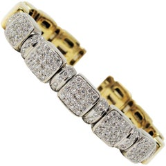 1.75 Carat Yellow and White Gold Pave Diamond Flexible Cuff Bracelet 18 Karat