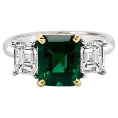 1.75 Carat Emerald and Diamond Ring in Platinum