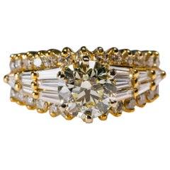 1.75 Carat Baguette 2.95 Carat Round Diamond Ring 18 Karat White Gold in Stock