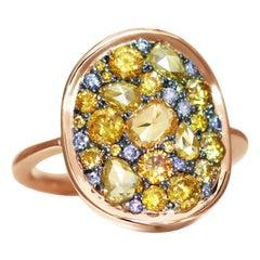 1,75 Ct Rose-Cut & Briljant-cut Fancy Yellow & Blue Diamond Pave Cocktail Ring
