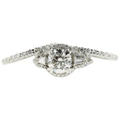 1.75 CT Round Diamond Engagement Ring, Diamond Halo and Tapered Baguettes (GIA)